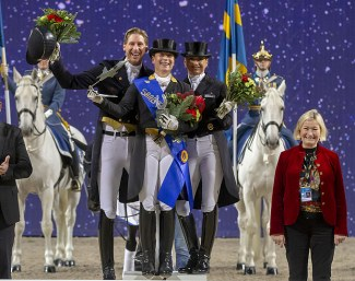 The top three in the freestyle at the 2018 CDI Stockholm - Kittel, Werth, Schneider - flanked by Swedish judge Annette Fransen-Iacobaeus :: Photo © Ronald Thunholm