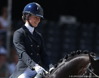 Charlotte Fry at the 2018 World Young Horse Championships :: Photo © Astrid Appels