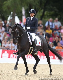 Jessica Michel and Hermes de Hus at the 2013 World Young Horse Championships in Verden :: Photo © Astrid Appels