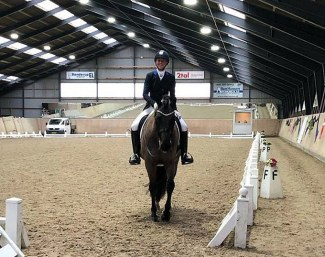 Winning duo Agnete Kirk Thinggaard and Jojo AZ leave the arena at the 2019 CDN Hedensted