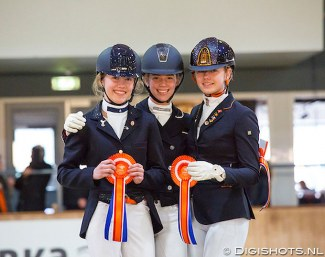 The Children's podium at the 2019 Dutch Indoor Dressage Championships: Feenstra, Van Dulst, Evers :: Photo © Digishots