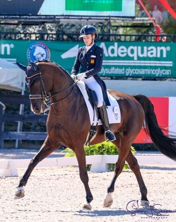Natalia Bacariza Danguillecourt and Dhannie in charge of the young riders classes at the 2019 Florida International Youth Dressage Championships :: Photo © Sue Stickle