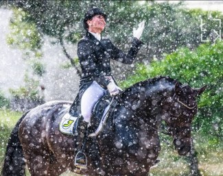 Lukasz Kowalski's winning photo for the 2018 McCauley's Alltech A+ Awards: Belinda Weinbauer in the pouring rain at the 2018 CDI Achleiten :: Photo © Lukasz Kowalski