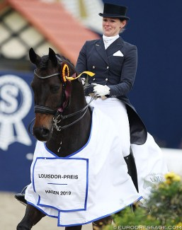 Senta Kirchhoff and L'Arbuste win the Louisdor Cup qualifier in Hagen :: Photo © Astrid Appels