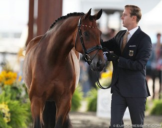 Sönke Rothenberger and Cosmo at the horse inspection at the 2018 World Equestrian Games :: Photo © Astrid Appels