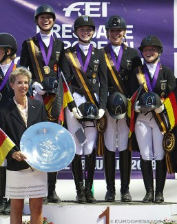 Team Germany with Welschof, Rothenberger, Westendarp and Holzknecht win gold at the 2019 European Young Riders Championships :: Photo © Astrid Appels
