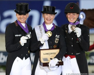 Dorothee Schneider, Isabell Werth and Cathrine Dufour on the Grand Prix Special podium at the 2019 European Dressage Championships