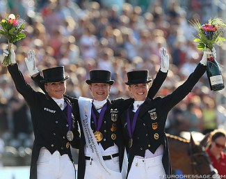 Dorothee Schneider, Isabell Werth and Jessica von Bredow-Werndl on the Grand Prix Kur podium at the 2019 European Dressage Championships