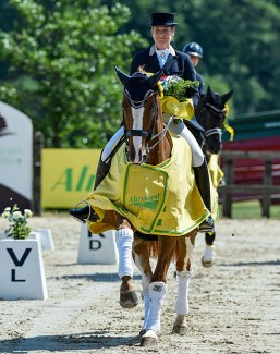 Patricia Koschel and Leuchtfeuer win the big tour at the Almased Dressage Amateurs in Leudelange, Luxembourg