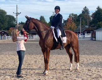 Jacqueline Brooks on Westwood with long-time coach Ashley Holzer at 2019 Dressage at Devon