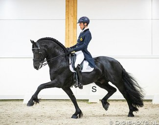 Marc-Peter Spahn on Elias at the  2019 European Championship for Friesian Dressage Horses :: Photo © Digishots
