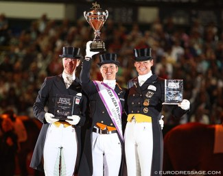 The podium at the 2011 World Cup Finals in Leipzig: Zu Sayn-Wittgenstein, Cornelissen and Salzgeber :: Photo © Astrid Appels