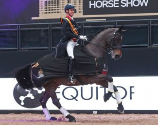 Carl Hester and Nip Tuck win the Freestyle invitational at the 2019 Liverpool International Horse Show