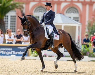 Matthias Alexander Rath and Grand Prix stallion Foundation at the 2019 CDI Wiesbaden