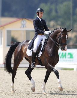Russian Young Rider Nikita Surjenko competing Flor d'Accord at the 2020 CDI Hagen in Germany on 17 - 19 July 2020