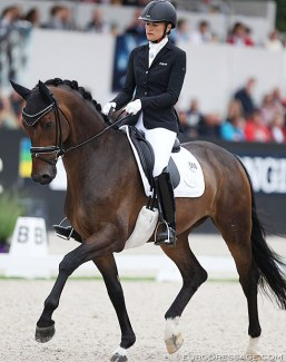 Jessica Michel-Botton on Don Vito de Hus at the 2019 World Young Horse Championships :: Photo © Astrid Appels