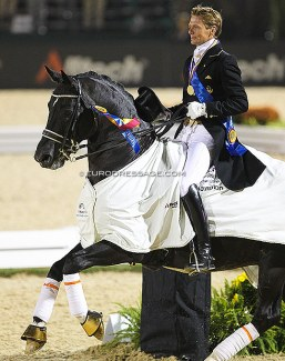 Edward Gal and Totilas, triple gold medalists at the 2010 World Equestrian Games :: Photo © Astrid Appels